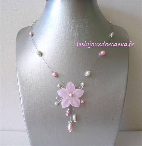 Bijoux mariage fleur collier mariée fleur rose poudré