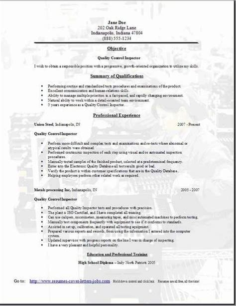 cv template quality control quality control resume occupational exles sles free