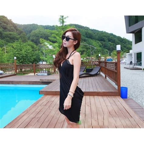 Dress Pakaian Terusan Wanita Black Dress Chiffon L 318849 dress pantai wanita wrap chiffon v dress all size black jakartanotebook
