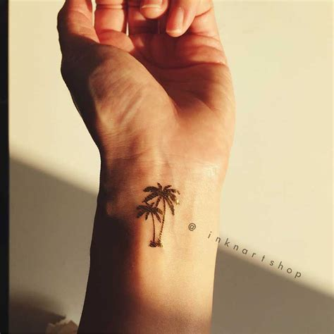 tattoo prices for wrist 4pcs gold tiny palm tree metalic gold foil inknart