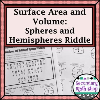 printable math worksheets volume sphere and hemisphere surface area and volume spheres and hemispheres riddle