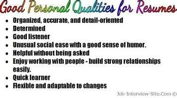 personal qualities list of personal qualities for resumes