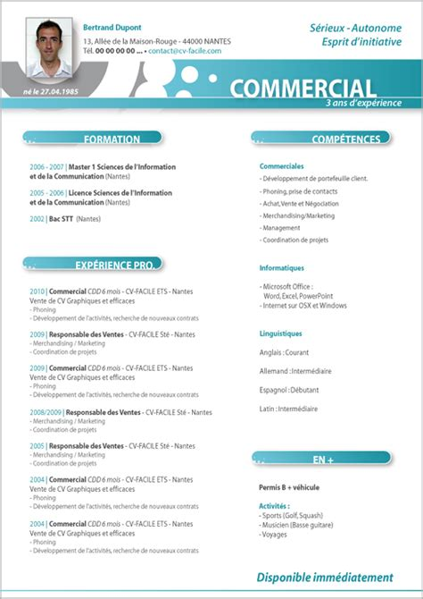 Cv In Commercial exemple cv original commercial cv anonyme