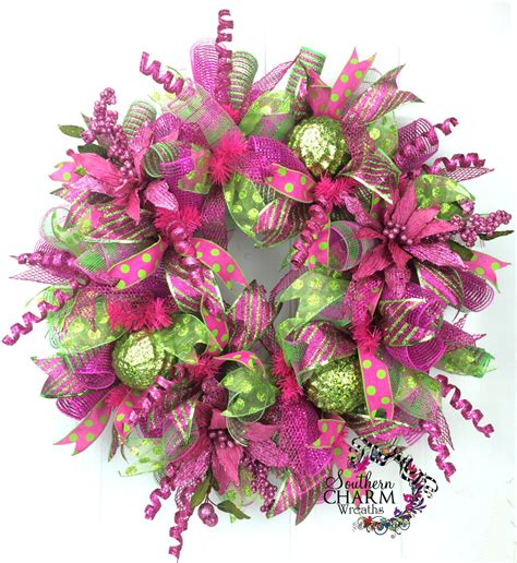 deco mesh christmas wreath lime green hot by