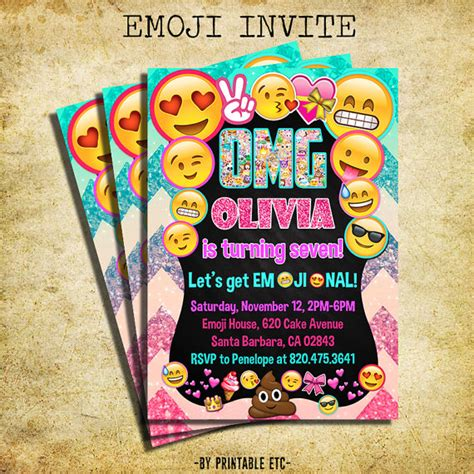 printable emoji birthday invitations emoji invitation emoji icons birthday party glitter invite