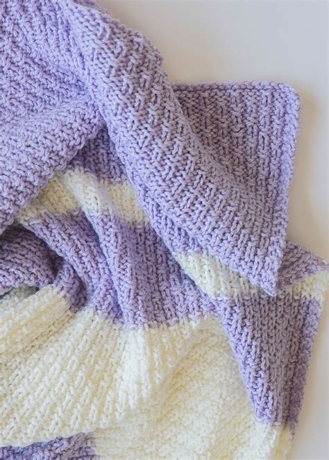 Pattern For Baby Blanket Knitting by Easy Knit Baby Blanket Pattern Leelee Knits