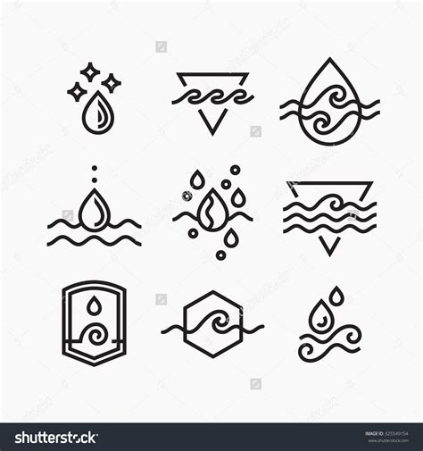 water sign tattoo vector line set of water symbols outline isolated icons