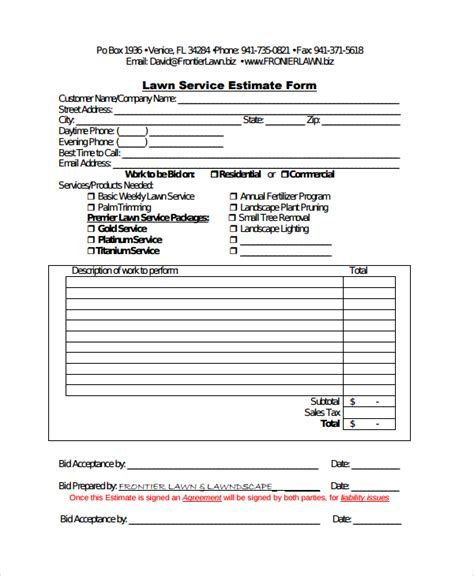 sle service estimate template 7 free documents