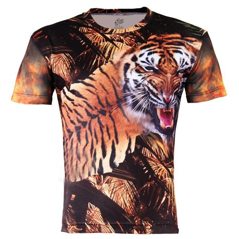 Tshirt White Tiger free shipping s brown tiger t shirt 041 rock creative floral sleeve