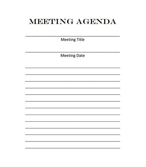 printable meeting agenda template meeting outline template 10 free sle exle