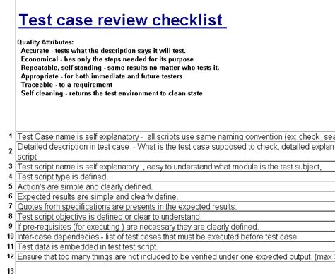 test case review checklist software testing and qa