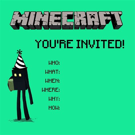 cube minecraft party invitations minecraft party a thrifty