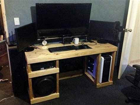diy reclaimed pallet computer desk designs recycled