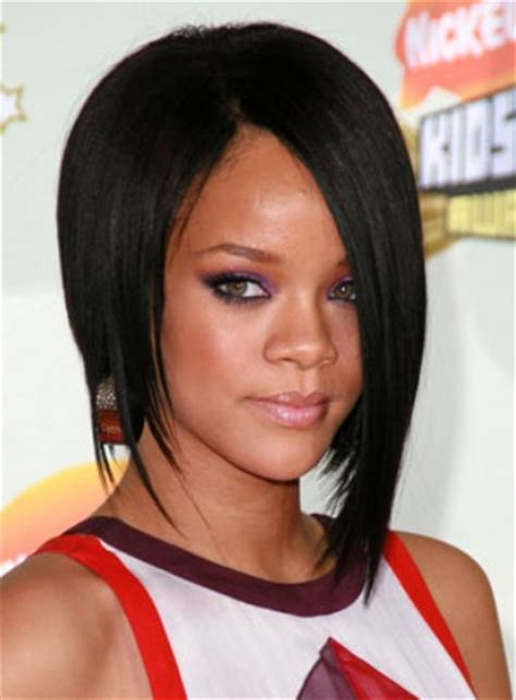 swing bob for african american hair rihanna short black asymmetric bob haircut for black women
