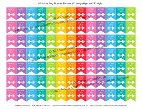 printable workout stickers gym workout printable planner stickers flag banner 1 h x
