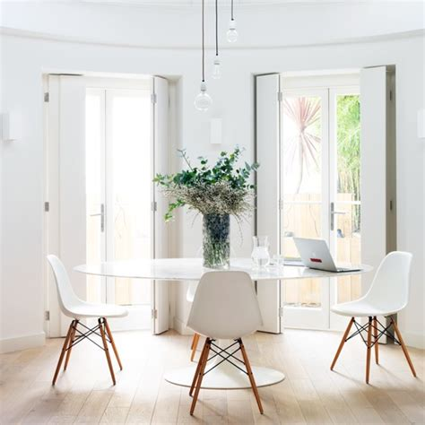 dining room with contemporary white furniture take a
