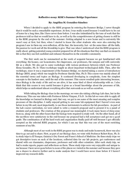 Reflective Essay On Writing by Reflective Essay Summer Bridge Exp