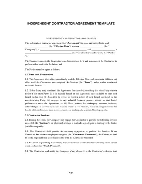 independent contractor agreement legalforms org