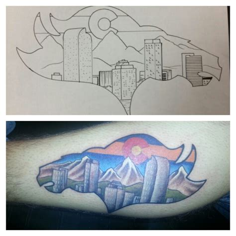 denver skyline tattoo colorado bronco fan primitive soul