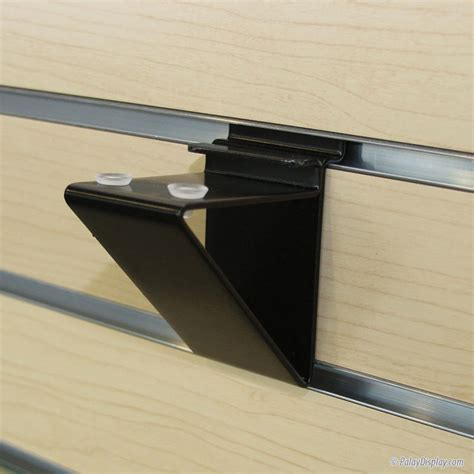 floating black slatwall shelf bracket for glass shelving