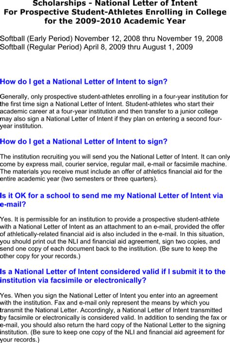 Financial Aid Agreement Vs Letter Of Intent letter of intent scholarship for free formtemplate
