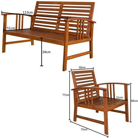 Wooden Garden Lounge Patio Table Bench Chair Set Outdoor