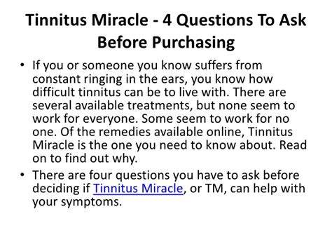 tinnitus miracle 4 questions to ask before buying