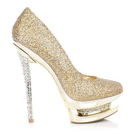 Pantofel Golden Gliter diamanthochzeitsschuhe fotos