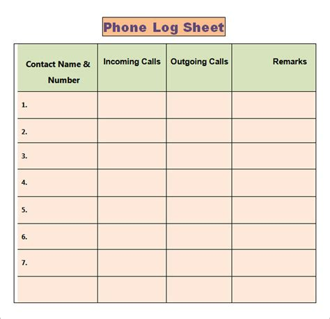 phone call log template phone log template 8 free word pdf documents
