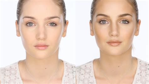 contour light sculpting before and after bronzed contoured highlighted makeup look
