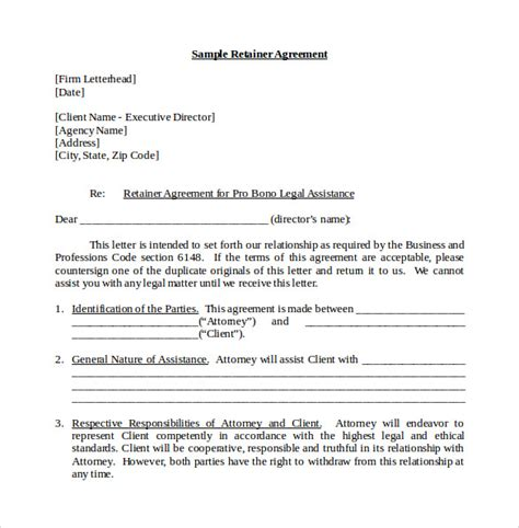 sle retainer agreement template exle document for