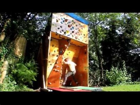 rock climbing wall for backyard homemade outdoor bouldering wall youtube