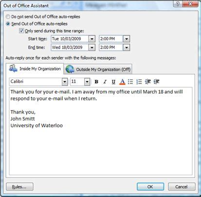 outlook 2010 setting an out of office reply applied