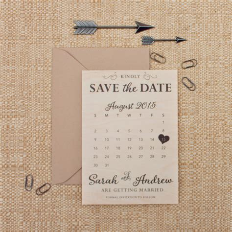 real wood calendar save the date