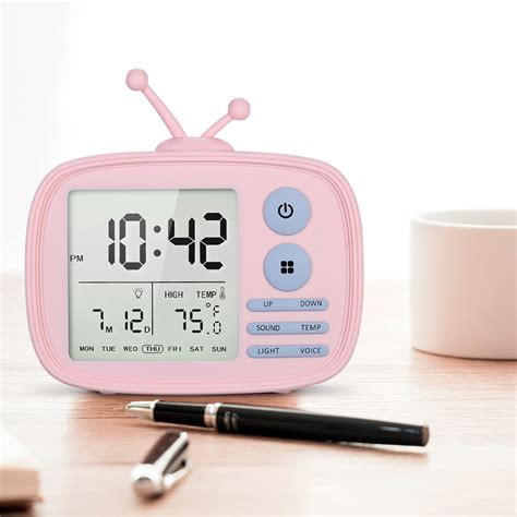usb rechargeable tv alarm clock sound activated lcd time