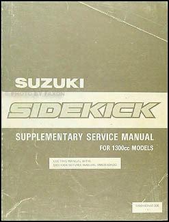 1994 suzuki sidekick repair shop manual supplement original 1989 suzuki sidekick 1300cc repair shop manual supplement original