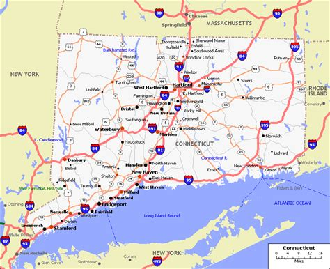 ct road map map of connecticut connecticut maps mapsof net