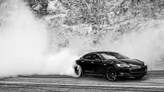 Tesla Electric Car Burnout Tesla Model S Doing Burnouts Hd Wallpapers