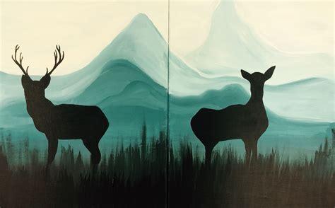 paint nite deer paint n sip couples edition