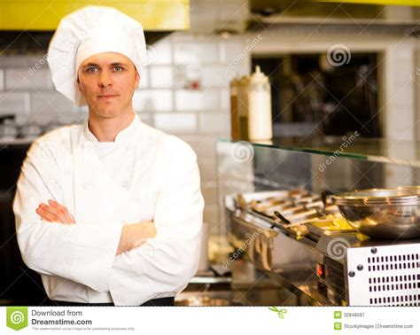 Commercial Restaurant Kitchen Design by Portrait Of Confident Male Chef Royalty Free Stock