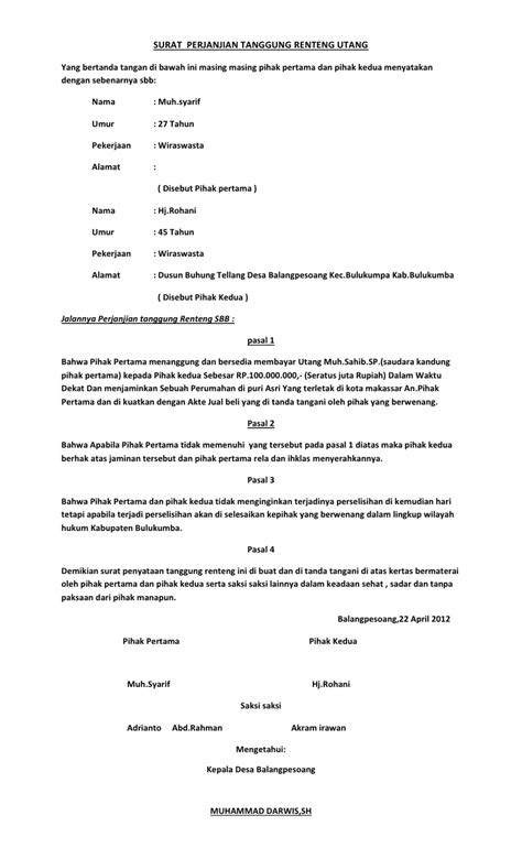 format surat kuasa utang download surat perjanjian docx viewer