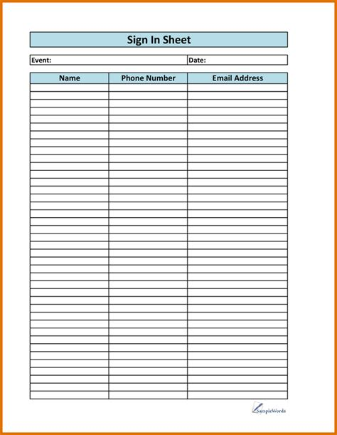 editable sign in sheet