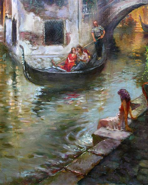 Vintage Shower Curtain Romance In Venice Painting By Ylli Haruni