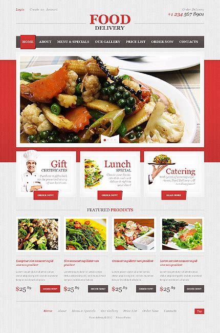 Template 40749 Food Html5 Website Design With Image Slideshow Intro Food Web Template