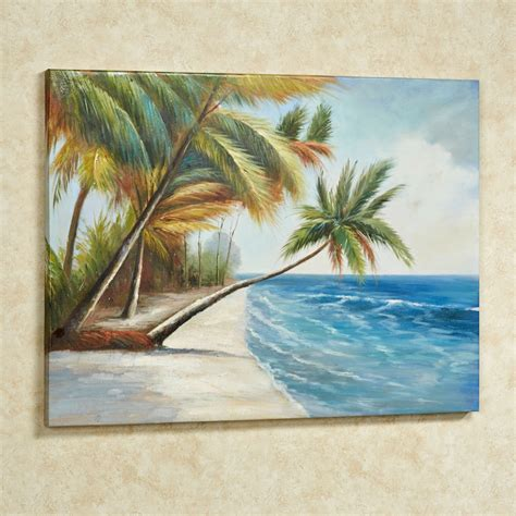leaning palms palm tree canvas wall