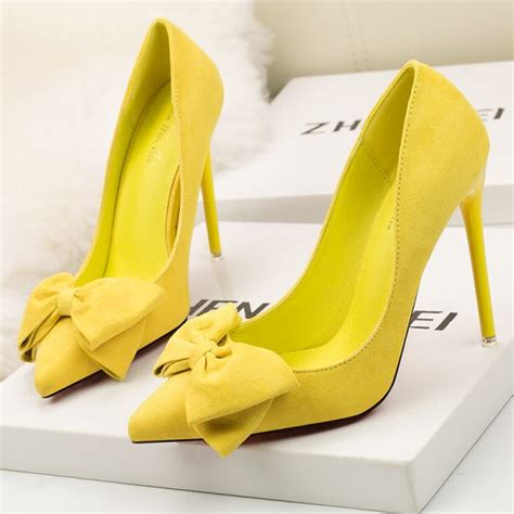 yellow suede bow point toe high heels pumps heelscn