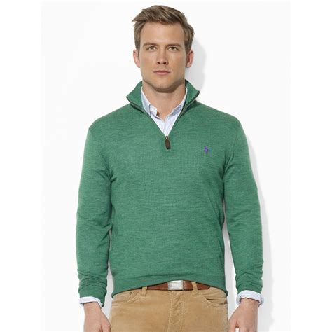 Sweater Polos polo ralph merino wool half zip sweater in green for lyst
