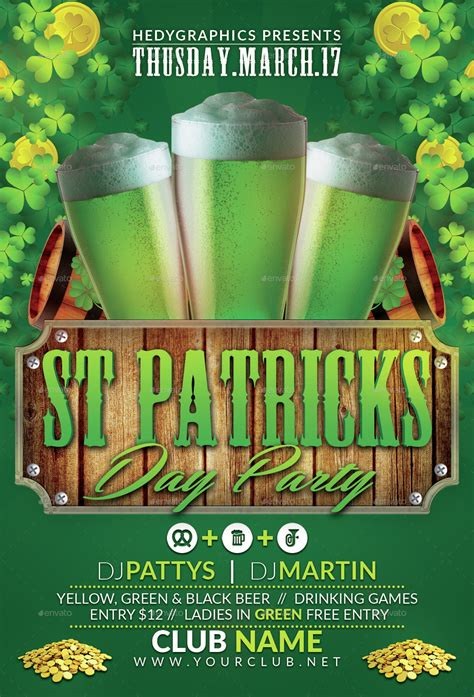 st patricks day flyer template vector free download