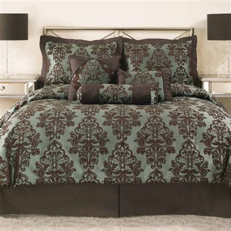 brand new brown turquoise jacquard 7 comforter set