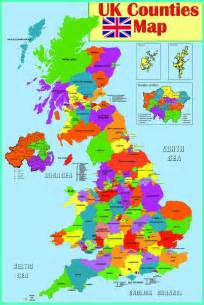 gloss laminated uk counties map educational poster wall
